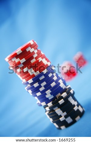 A stack of poker playing chips - stock photo