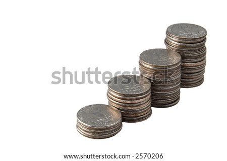 A stack of quarters isolated against white - stock photo