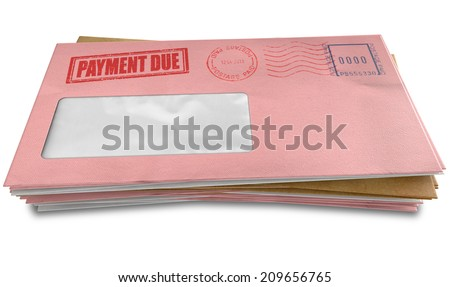A stack of regular envelopes with delivery stamps and a clear window and the top pink one saying payment due symbolizing bills and debt on an isolated white background