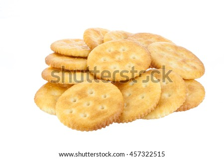 cracker isolated on over white background crackers or biscuits on ...
