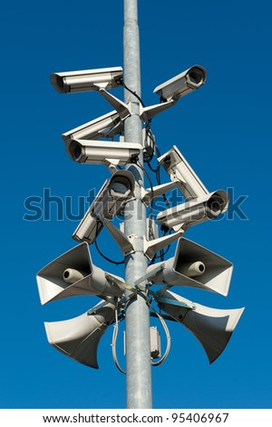 A stack of security cameras - stock photo