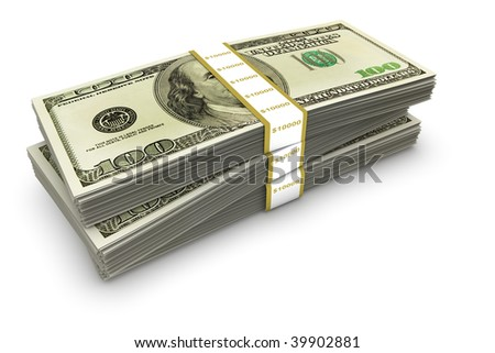 A stack of several bundles of US one hundred dollar bills. - stock photo