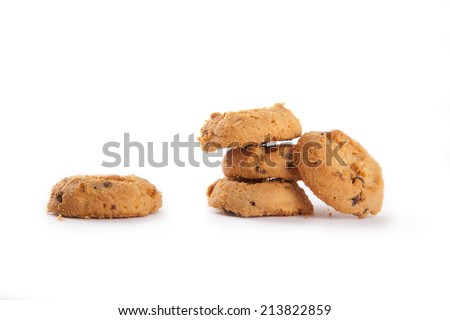 A stack of sweet biscuits on white background. - stock photo