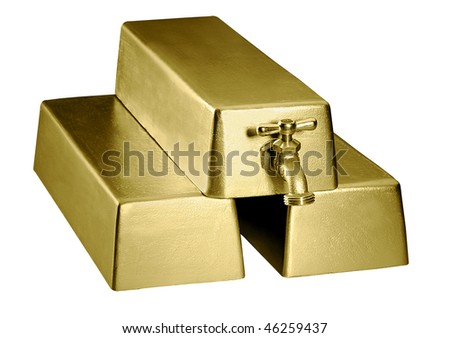 A stack of three gold bars with a faucet coming out of the top bar - stock photo
