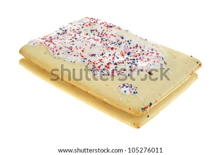 A stack of two iced and sprinkled blueberry toaster pastries on a white background. - stock photo