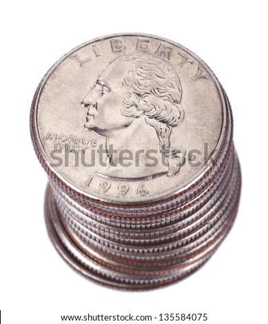 A stack of 25 US cent (quarter) coins isolated on white background. George Washington's portrait is depicted on the coin. - stock photo