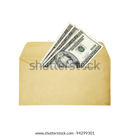 A stack of US dollar twenties currency bills in an open brown paper envelope, isolated against white.