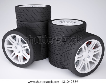 A stack of wheels with discs. Isolated render on a white background