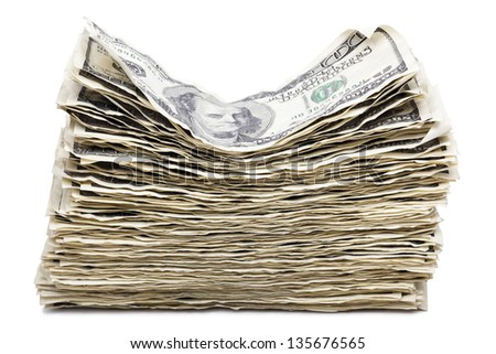 A stack of wrinkly 100 US$ money notes, isolated on white background. Clipping path included. - stock photo