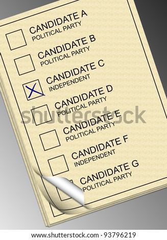 A stack of yellow ballot papers with a black and white background / Ballot paper - stock photo