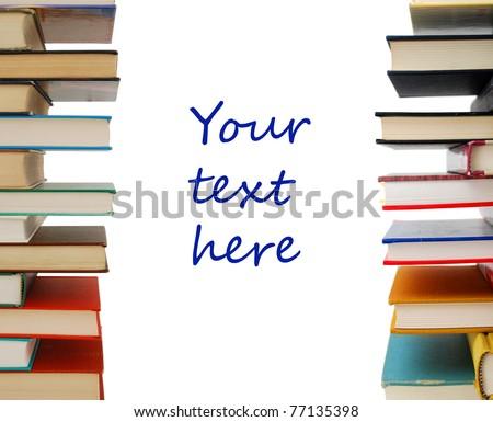 A stacking textbooks on decor - stock photo