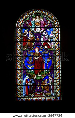 A stain glass window in an English church