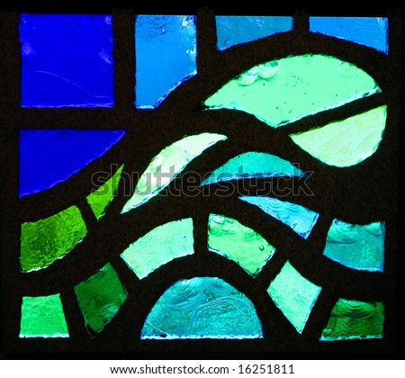 A stained glass window wave representation - stock photo
