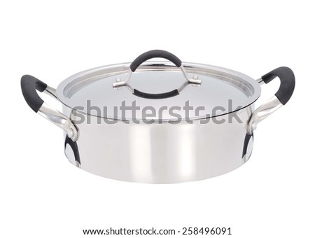 A stainless pan isolated on a white