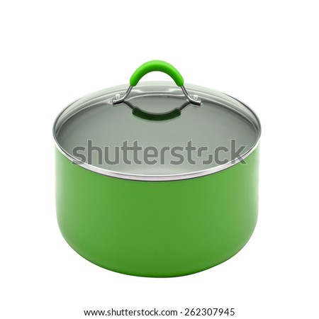 A stainless pan isolated on a white - stock photo
