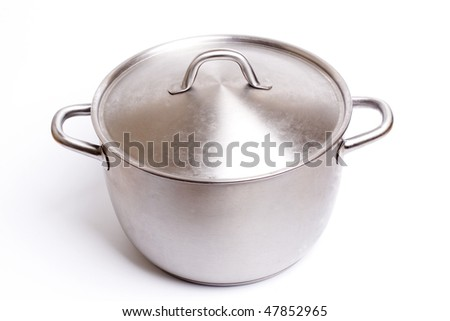A stainless pan isolated on a white background. - stock photo
