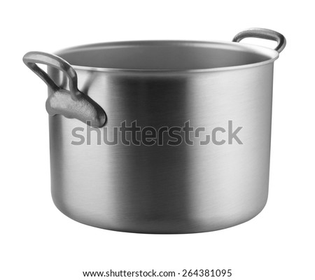 A stainless pan on white background - stock photo