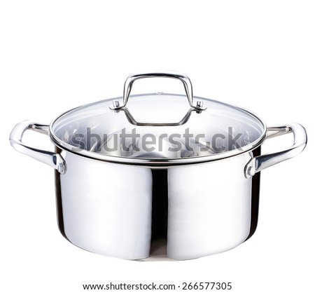 A stainless pan on white background