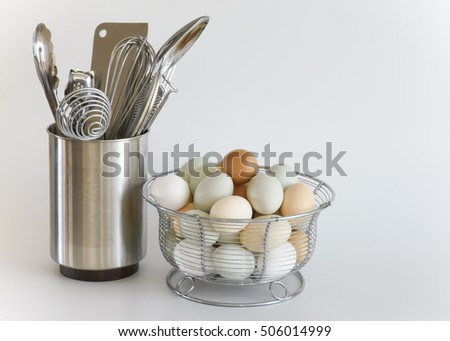 kitchen utensils ceramic container on white stock photo