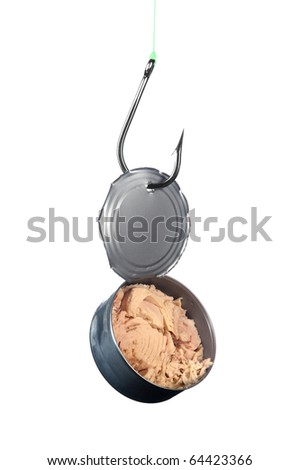 A stainless steel fishing hook snagged an open can of tuna. - stock photo