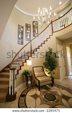 Staircase Entry Way Beautiful Home Interior Stock Photo