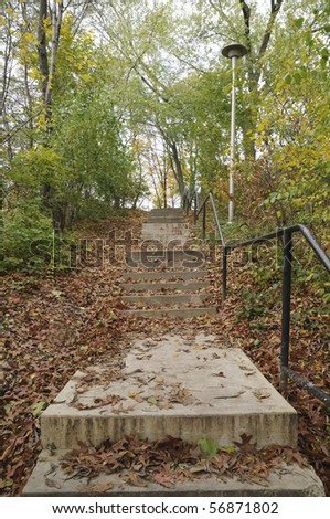A staircase during the Fall season.