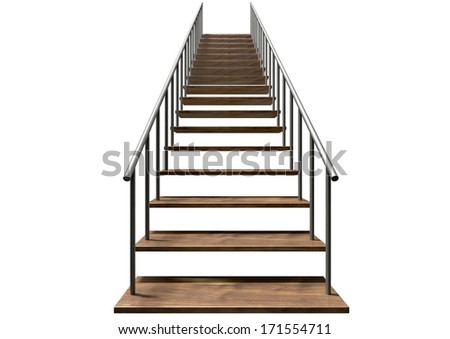 A staircase made of wooden steps and a metal handrail on an isolated white background