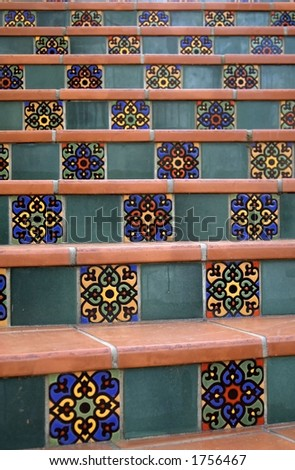 A stairway of Spanish tiles. - stock photo