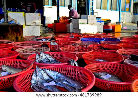A stall selling fish, Taiwan Miaoli County Dragon fishing port