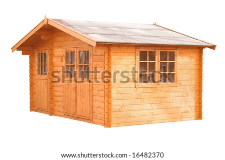 a standard blockhouse, garden-house on white background - stock photo