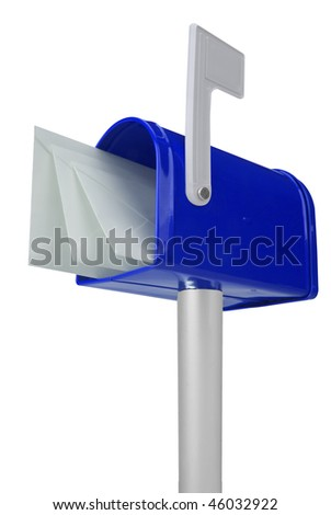 A standard blue mailbox with mail and flag isolated over white - stock photo