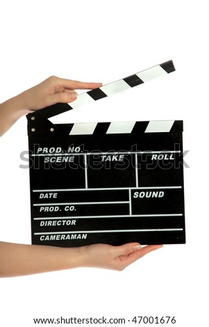 A standard clapperboard. All isolated on white background.