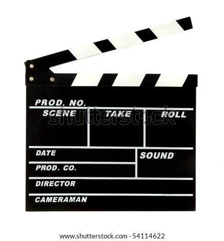 A standard clapperboard. All isolated on white background. - stock photo