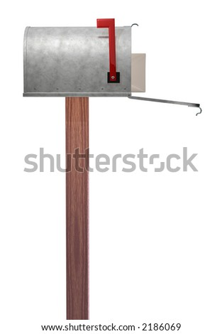 A standard galvanized mailbox on post showing side profile, with mail and flag up over white. - stock photo