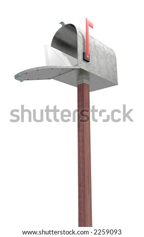 A standard galvanized mailbox on post, with mail and flag up over white. - stock photo