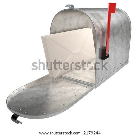 A standard galvanized mailbox with mail and flag up over white. - stock photo
