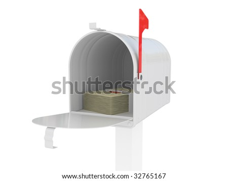 A standard mailbox with mail and flag up over white