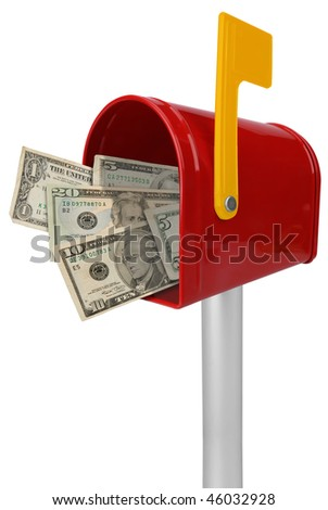 A standard red mailbox American money and flag isolated over white - stock photo