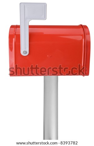 A standard red mailbox with a flag over a white background - stock photo