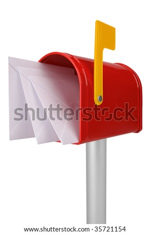 A standard red mailbox with mail and a yellow flag isolated over white - stock photo