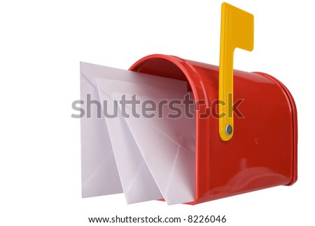 A standard red mailbox with mail and flag isolated over white - stock photo