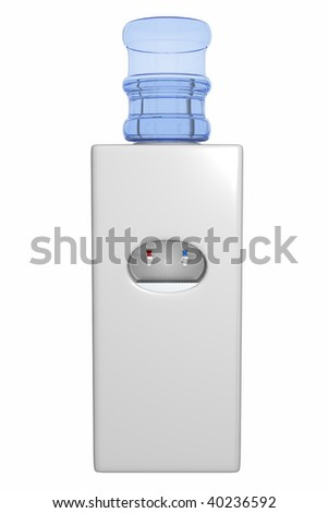 A standard water cooler with hot and cold taps - stock photo