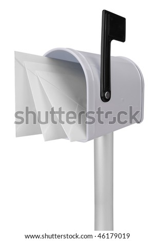 A standard white mailbox with mail and black flag isolated over white with a clipping path - stock photo