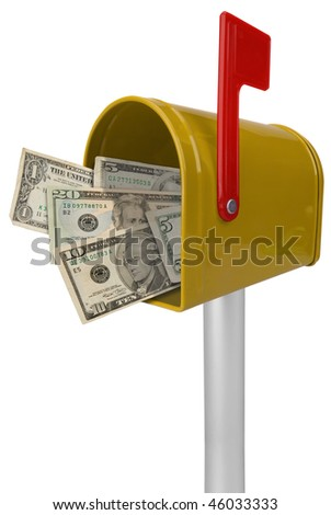 A standard yellow mailbox American money and flag isolated over white - stock photo