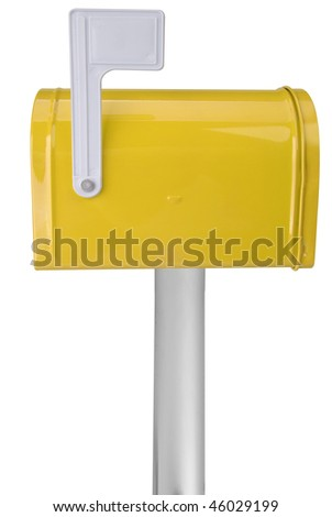 A standard yellow mailbox with a flag over a white background - stock photo