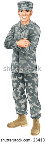 A standing soldier wearing camouflage combat uniform with his arms folded - stock photo