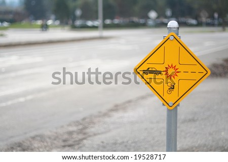 A Stanford sign warning of possible bicycle/car collision. - stock photo