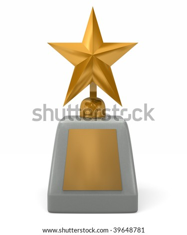 A star award with marble base and blank plaque - stock photo