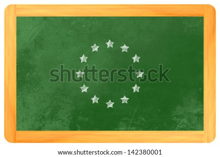 a star circle such as the flag of the european union with chalk on a blackboard - stock photo