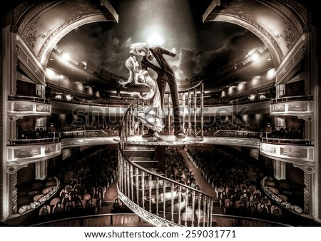 A staring couple are performing love scene show in grand the theater with fantasy atmosphere, in old film grain style - stock photo